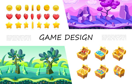 Cartoon game design UI composition with circle heart star buttons crown gemstones jewels gold coins cup in treasure chest fantasy nature landscape vector illustration