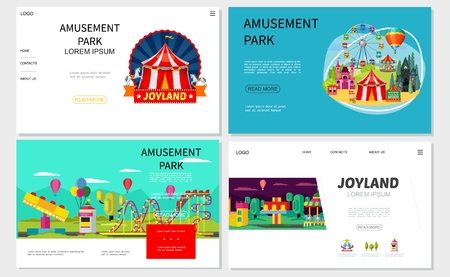 Flat amusement park websites set with ferris wheel rollercoaster ticket booth castle horror house shooting gallery children attractions and carousels vector illustration