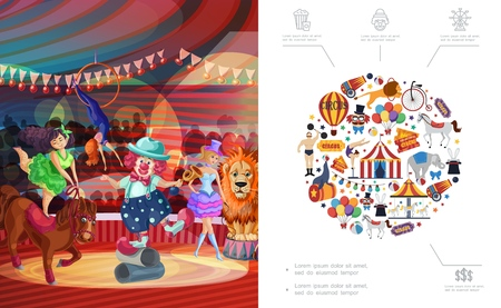 Flat carnival circus concept with clown acrobat animal tricks on stage strongman bicycle tent cannon tickets carousels hot air balloon vector illustration Illustration