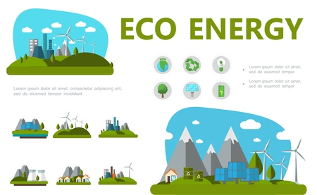 Flat alternative energy concept with planet recycle sign bulb tree solar panels battery windmills eco factory and houses vector illustration
