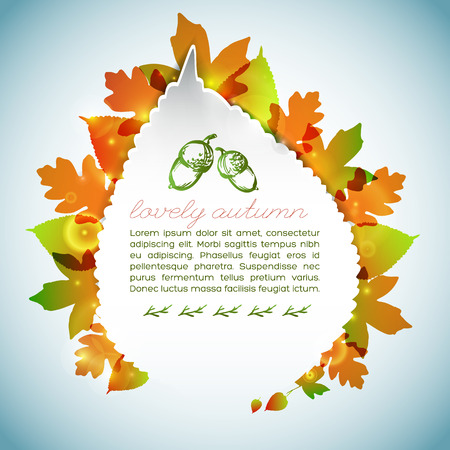 Decorative autumn light background with text acorns colorful maple and aspen leaves of different shapes vector illustration