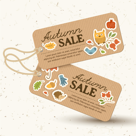 Seasonal price tags light concept with inscriptions and autumn traditional elements in vintage style isolated vector illustration