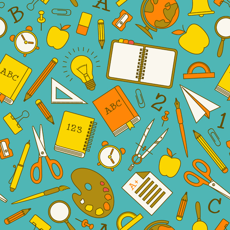 Back to school colorful seamless pattern with supplies and objects on blue background vector illustration