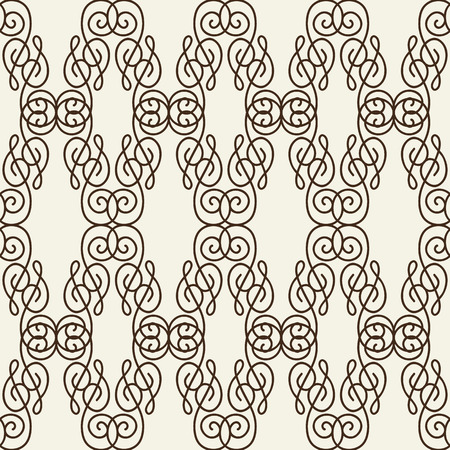 Rhomboid seamless pattern composed of thin black line squiggles on white background flat vector illustration