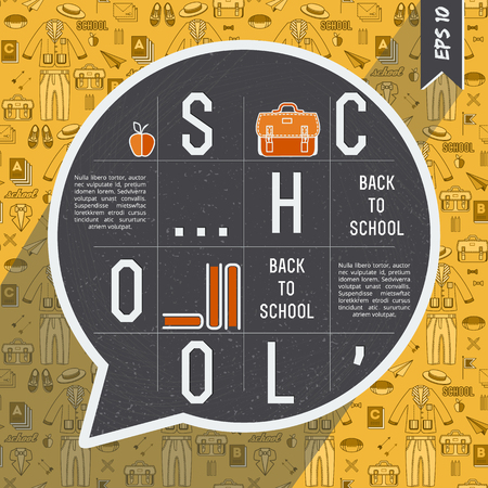 Back to school composition with big gray claud talk and white big words on them vector illustration Ilustração