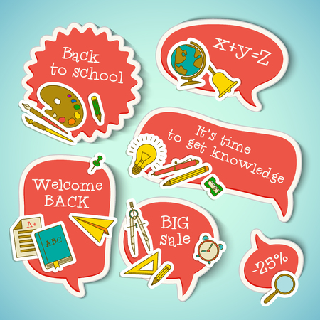 School education stickers collection with paper supplies on light blue background isolated vector illustration Standard-Bild - 114862086