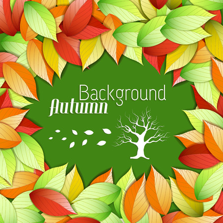 Floral autumn beautiful poster with white inscription tree and colorful falling leaves on green background vector illustration