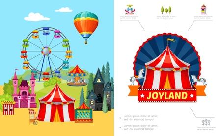 Karikatur-Vergnügungspark-Konzept mit Riesenradschloss-Horrorhaus-Nahrungsmittelkarren-Ticketschalter-Schießstand-Heißluftballonvektorillustration