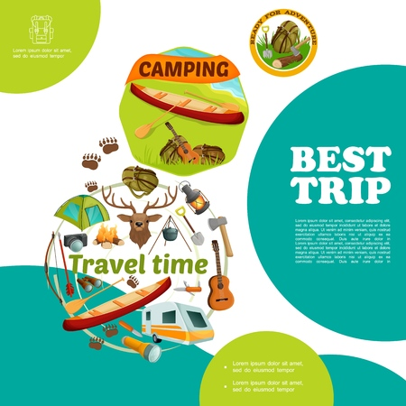 Cartoon summer travel colorful template with canoe backpack guitar near river and camping elements vector illustration