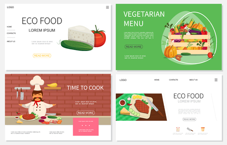 Flat healthy food websites set with chef wooden crate of organic vegetables tomato cheese cucumber vector illustration Banque d'images - 114826770