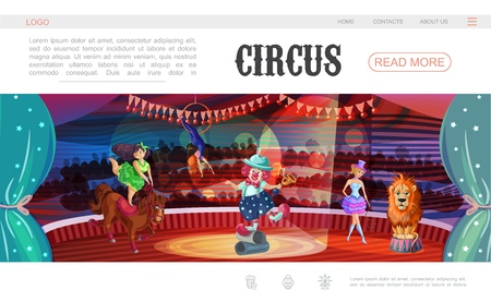 Cartoon circus web page template with clown acrobat trainers lion horse performing different tricks on arena vector illustration 일러스트