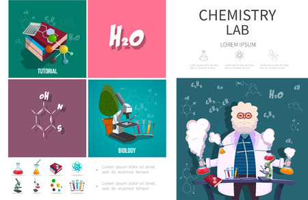Flat chemistry lab infographic concept with scientist doing laboratory experiment microscope books calculator test flasks chemical formulas vector illustration