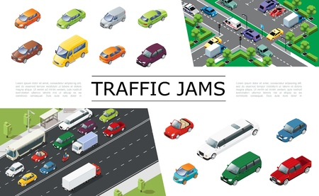 Isometric traffic jam concept with urban transport moving on road automobiles of different types and models vector illustration