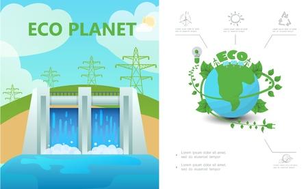 Composizione di ecologia piatta con linee elettriche ad alta tensione stazione idroelettrica eco pianeta lampadina sole riciclare segno illustrazione vettoriale