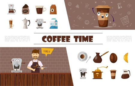 Flat coffee elements collection with barista beans milk croissant thermos coffee cups turk grinder and machines vector illustration