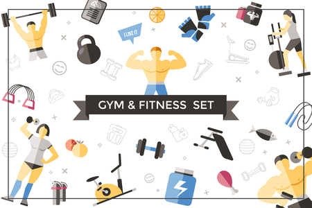 Flat sport and fitness template with people doing physical exercises sportive equipment healthy food scales bottle sportswear in frame vector illustration