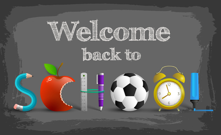 Welcome back to school background with combined school attributes in big letters vector illustration