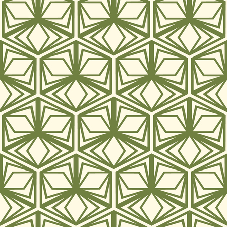 Abstract monochrome seamless pattern with green repeating hexagonal geometric forms in vintage style vector illustration