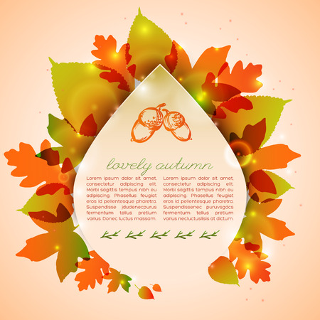 Autumn greeting card with leafy composition sketched acorns and branches on light background with spots vector illustration 向量圖像