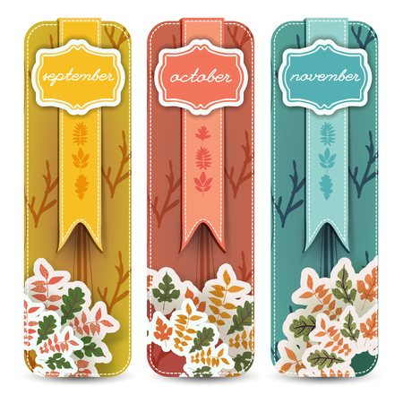 Set of hand drawn banners with autumn months in figured frames ribbons and leaves isolated vector illustration