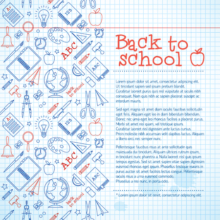 Education paper sheet background with colorful school supplies icons ink stains and text vector illustration Standard-Bild - 114784158