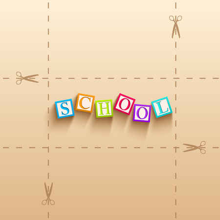 Back to school template with colorful cubes with letters in realistic style on paper background vector illustration