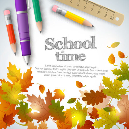 Back to school background with text realistic pen pencils ruler and maple oak aspen leaves vector illustration
