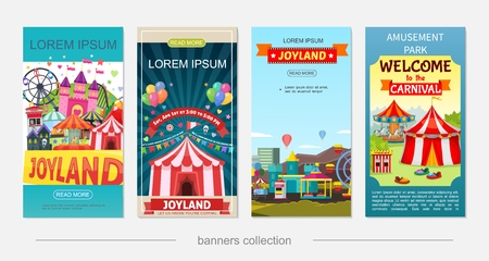 Flat amusement park vertical banners with ferris wheel castle horror house rollercoaster children electric cars ticket booth attractions and carousels vector illustration