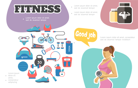Flat fitness infographic concept with woman lifting dumbbell sportive nutrition sportswear bicycle treadmill scales ball tennis racket bottle jump rope vector illustration