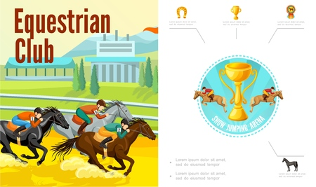 Cartoon equestrian sport composition with jockeys riding horses trophy cup horseshoe medal vector illustration