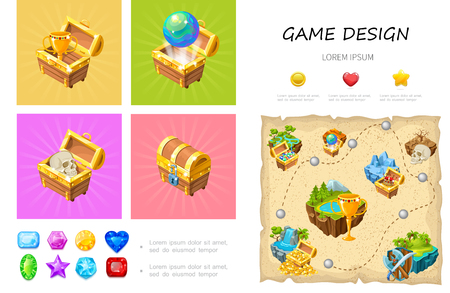Cartoon game UI infographic concept with cup globe skull in treasure chests colorful gemstones heart star circle buttons level design vector illustration Foto de archivo - 114757380