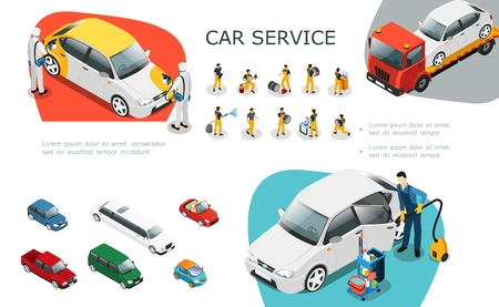 Isometric car service elements set with professional workers change tires repair and wash automobile roadside assistance vector illustration
