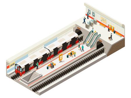 Concepto isométrico de la estación de metro con el tablero de información de las puertas del boleto de tren, escaleras mecánicas, bancos de ferrocarril, pasajeros en la plataforma, ilustración vectorial aislada Ilustración de vector