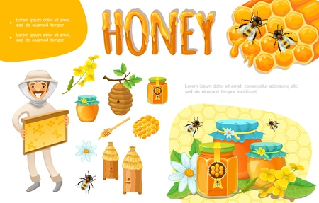 Cartoon colorful beekeeping elements set with beekeeper honeycomb bee flowers hive beeswax jars of organic honey vector illustration