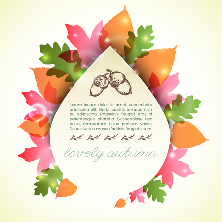 Lovely autumn template with colorful foliage around greeting card in drop shape with sketched acorns vector illustration 向量圖像