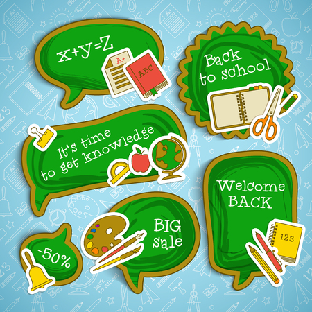 Back to school stickers set with paper supplies on line icons seamless pattern vector illustration