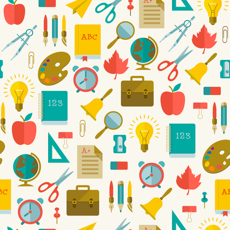 Back to school flat seamless pattern with colorful supplies on light background vector illustration Standard-Bild - 112374305