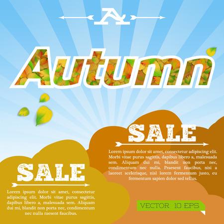 Light seasonal sale template with natural inscription text and falling alder leaves on sunburst background vector illustration
