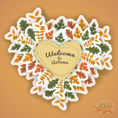 Warm autumn design with colored leaves around beige heart and calligraphic lettering on tan background vector illustration