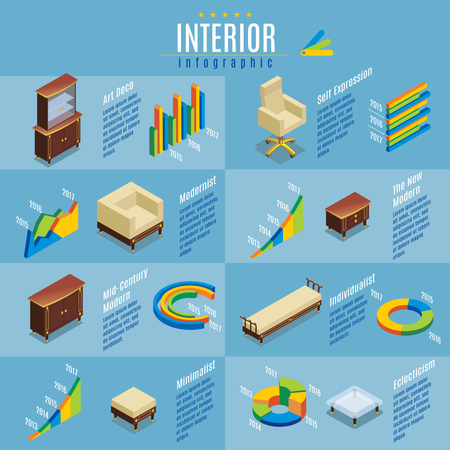 Isometric hotel furniture infographic concept with chair bed commode table armchair bookcase nightstand diagrams graphs isolated vector illustration