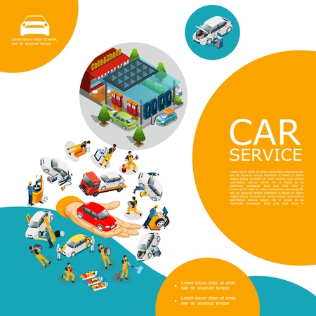 Isometric car service template with workers in uniform change tires repair and fix automobile gas station vector illustration Illustration