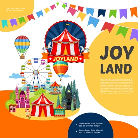 Cartoon amusement park template with different attractions carousels and festive bunting flags vector illustration