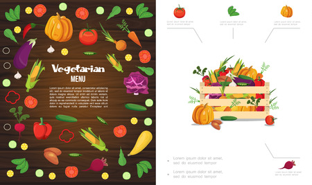 Flat eco healthy food composition with wooden crate of pumpkin corn tomato cucumber carrot beet garlic cabbage potato pepper peas vector illustration Banque d'images - 112374320