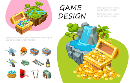 Cartoon game design concept with treasure chests of gemstones and cold coins waterfall trees mining elements vector illustration