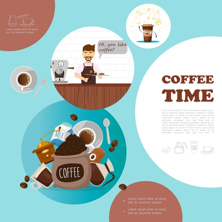 Flat coffee elements template with barista cups coffee machine grinder beans milk plate spoon vector illustration