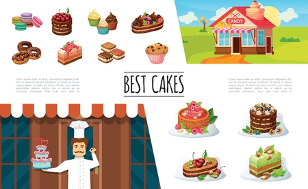 Cartoon desserts elements collection with confectioner candy shop macaroons cakes and pie with berries cupcakes donuts muffin vector illustration Ilustração