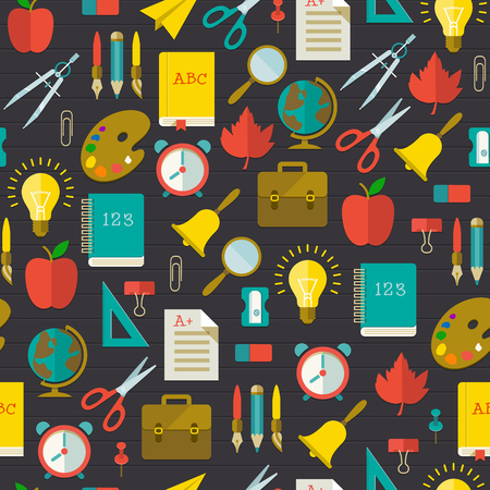 Back to school flat seamless pattern with colorful supplies and elements on dark wooden background vector illustration
