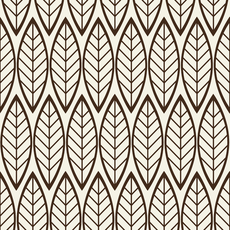 Monochrome seamless background with abstract geometric pattern composed of leaves in linear design flat vector illustration Ilustração