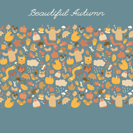 Autumn background with doodle style isolated images of cartoon plants clothes food and childish animal characters vector illustration
