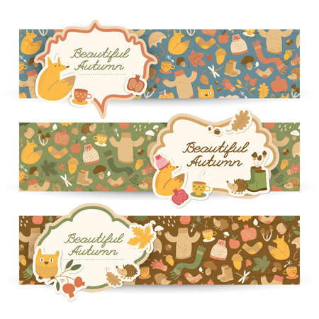 Three isolated horizontal fall doodle style banners set with pattern overlay and stickers with text and decorative icons vector illustration